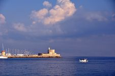 Free Rhodes Harbour Greece Stock Photography - 21839032
