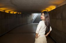Free Beautiful Woman Posing In Underpass Stock Photography - 21839472