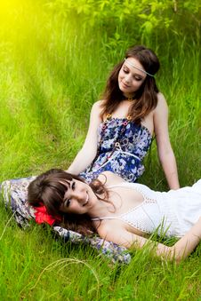 Free Young Girls On The Meadow Stock Photos - 21844473