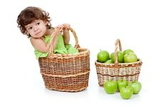 Free Adorable Little Girl With Green Apples In Basket Royalty Free Stock Photos - 21845728