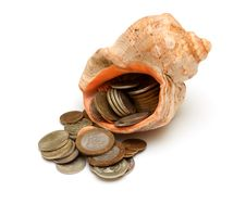 Free Photo Of Coins In Seashell Stock Photography - 21847162