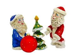 Free Clay Figures Of Santa Claus Isolated On White Royalty Free Stock Images - 21847549