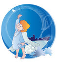 Free The Little Angel And  Christmas Stars Stock Images - 21854724