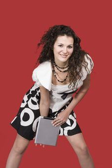 Young Woman And Tablet Pc Stock Images