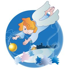 Free A Little Angel And Christmas Ball Stock Photography - 21854722