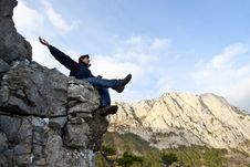 Free Man On Top Of The Mountain Stock Photography - 21856432