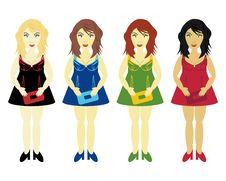 Free Four Glamour Girls Royalty Free Stock Photo - 21858735