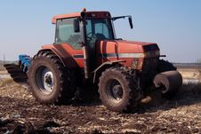 Tractor At Work On Farm Stock Photography
