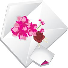 Free Holiday Envelope With Flowers Stock Images - 21862384