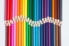 Free Set Of Color Pencils On White Stock Photography - 21864002