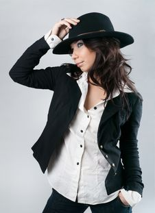 Free Beautiful Woman In Cowboy Hat. Royalty Free Stock Image - 21864536