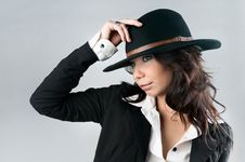 Free Beautiful Woman In Cowboy Hat. Stock Image - 21864621