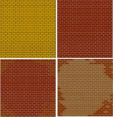 Abstract Brick Walls Set Textured Red Color Royalty Free Stock Image