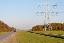 Free Electricity Pylons In Dutch Farmland Stock Image - 21867321