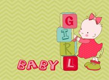 Free Baby Girl Arrival Card Stock Image - 21867591