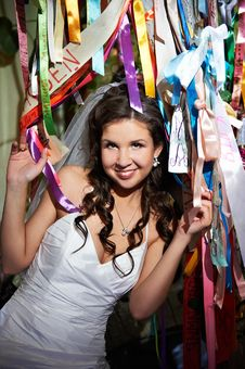 Free Happy Bride And Colorful Ribbons Stock Photo - 21869640