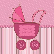 Baby Girl Arrival Card With Photo Frame Stock Photo
