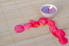 Free Purple Candle With Rose Petals Royalty Free Stock Images - 21873499