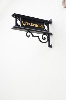 Free Wrought-iron Telephone Sign Royalty Free Stock Image - 21876996