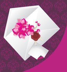 Free Envelope With Flowers On The Decorative Background Stock Images - 21877104