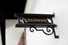 Free Wrought-iron Telephone Sign Royalty Free Stock Photos - 21877208
