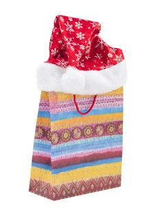 Gift Bag And A Hat Christmas Stock Photos