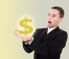 Free Businessman Chooses Golden US Dollar Sign Stock Image - 21879801