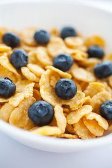 Free Corn Flakes With Fresh Bilberry Royalty Free Stock Photography - 21881927