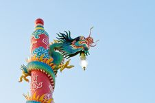 Free Dragon Statue At Chinese Shrine ,Thailand Royalty Free Stock Photography - 21882677