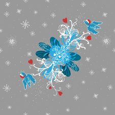 Free Winter Background With Doodle Birds, Hearts And Stock Image - 21885591