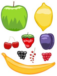 Free Mouth-watering Fruit Icons Royalty Free Stock Photography - 21887187