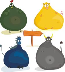 Free Cute Cartoon Plumpy Animals In Vector Stock Images - 21889694