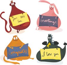 Free Cute Plumpy Animals With Banners In Vector Stock Photo - 21889700