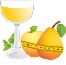 Free Glass With Juice, Fruits And Measuring Tape Royalty Free Stock Image - 21892046