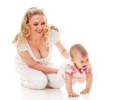 Child And Loving Mother, Child Steps Royalty Free Stock Photo
