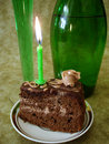 Free Chocolate Cake With Candle Royalty Free Stock Photo - 2196255