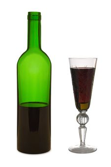 Free Glass With Red Wine And Bottle Royalty Free Stock Images - 2192259