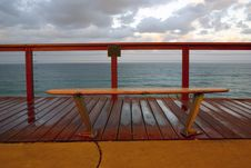 Free Bench Overlooking Ocean Stock Photography - 2194722