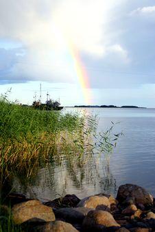 Lake Ladoga. A Rainbow. Stock Photo