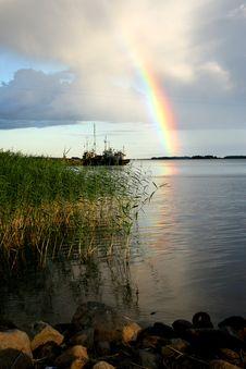 Lake Ladoga. A Rainbow. Stock Photography