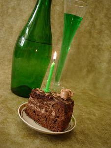 Free Chocolate Cake With Candle Royalty Free Stock Photos - 2196238