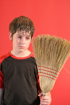 Free Mad Boy With Broom Vertical Royalty Free Stock Photos - 2198538