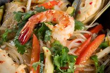 Free Shrimp, Seafood, Vegetables And Rice Noodles Stock Photos - 21902613