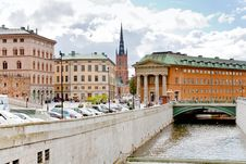 Free Canal And Bridge In Stockholm, Sweden Royalty Free Stock Photography - 21903507