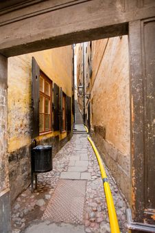 Street In Old Town Galma Stan, Stockholm Stock Photo