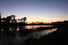 Free Pond At Sunset Royalty Free Stock Photography - 21905507