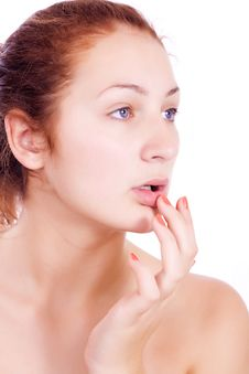 Free Health & Skin Care. Lovely Woman Touching Her Lips Stock Photo - 21907170