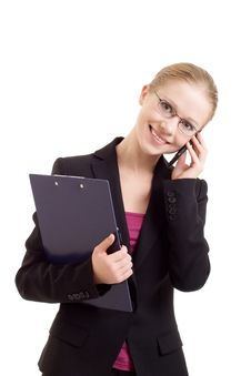 Free Business Woman Talking On A Cell Phone Royalty Free Stock Image - 21907826