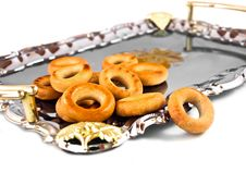 Free Russian Sushki On A Silver Tray Royalty Free Stock Image - 21910046