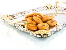 Free Russian Sushki On A Silver Tray Stock Photos - 21910053